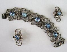 Napier Silverplate Bracelet Earrings Scroll Work Blue by COBAYLEY