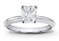 Platinum Solitaire Diamond Engagement Ring Radiant Cut ( G Color VS2 Clarity 0.5 ctw)