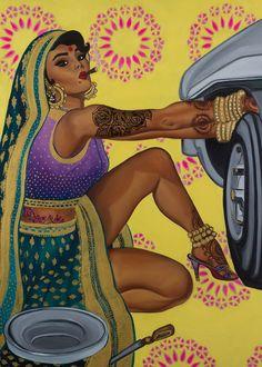 This Feminist Artist Paints Indian Women As Badass Pinup Models HuffPost UK Indian Illustration, Woman Illustration, Girls Show, Pin Up Girls, Game Design, Feminist Art, Feminist Apparel, Feminist Quotes, Tatoo Art