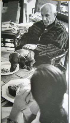 Lump & Picasso, by David Douglas Duncan Lump always had his own plate and ate at the table.