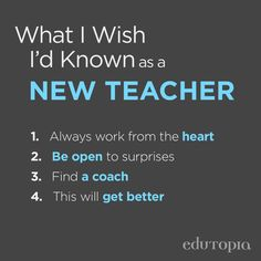 Advice for new teachers.