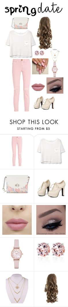"""""""Casual Spring Date"""" by bjung8 ❤ liked on Polyvore featuring Current/Elliott, MANGO, Candie's, Sidewalk, Emporio Armani, Belk & Co. and WithChic"""