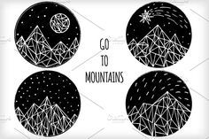 Call of mountains by Creative Journey on @creativemarket Mountain Texture, Geometric Mountain, Mountain Illustration, Simple Line Drawings, Creative Sketches, Pencil Illustration, Paint Markers, Photoshop Elements, Business Card Logo
