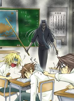 Gakuen Dissidia by SBS - Dissidia-Final Fantasy - Sephiroth / Squall / idiot who dares to fall asleep in Sephiroth's class…
