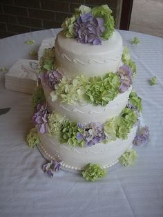 Three - Tiered Hydrangea Cake by sarahelizabethnightingale, via Flickr