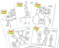 Seuss' The LORAX Coloring Pages. We printed them on the blank side of all the kids papers we got back at the end of the school year First Grade Activities, Hands On Activities, Activities For Kids, Dr Seuss Day, Dr Suess, Games 4 Kids, Coloring Pages, Free Coloring, Colouring