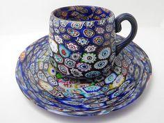 Fratelli Toso Millefiori C 1900 Murano Art Glass Cup Saucer | eBay