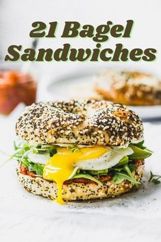 21 Mouthwatering Bagel Sandwiches to Upgrade Your Breakfast or Lunch   #Bagel #Sandwich #Bagelsandwich #Breakfast #Brunch #Lunch #Quicklunch Best Bagel Sandwich Recipe, Bagel Breakfast Sandwich, Best Breakfast, Sandwich Recipes, Chicken Sandwich, Smoked Salmon Bagel, Best Bagels, Sandwiches For Lunch, Vegan Sandwiches