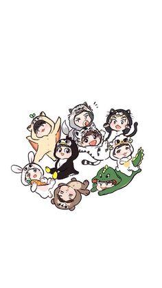 Emes bat😆 Exo Chanbaek, Kpop Exo, Exo Chanyeol, Exo Cartoon, Cartoon Art, Chibi, Exo Imagines, Exo Stickers, Exo Anime