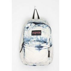 'Flaunt during the day' Jansport Denim Backpack ❤ liked on Polyvore featuring bags, backpacks, white bags, jansport bags, denim backpack, white backpack and denim bag