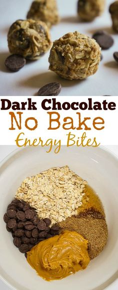 These dark chocolate no bake energy bites are completely clean with raw peanut butter, flax, dark chocolate and honey. Makes a great evening snack chalk full of antioxidants! #Cleaneatingsnacks