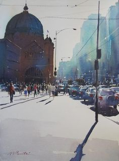 Afternoon Light, Flinders Street by Malcolm Beattie (Height - cm X Width - cm ) Watercolour on Paper Watercolor City, Easy Watercolor, Watercolor Artists, Watercolor Landscape, Watercolor Paintings, Watercolours, Painting Gallery, Art Gallery, Urban Painting