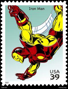 USA postage stamp from 2007 - featuring Marvel Comics Iron Man Comic Books Art, Comic Art, New Iron Man, Marvel Comics Superheroes, Going Postal, Comic Kunst, Superman, Batman, Stamp Collecting