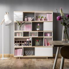 Vox Balance Modular Bookcase in White & Oak Effect Versatile Furniture, Decor, Furniture, Bookcase, Interior, Create Your Own Furniture, Modular Furniture, Bookcase Design, Shelving