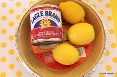 """NO Bake Lemon Pie! Another pinner said """"I have been making this recipe for 40 years, and when you see the ingredients I know you're going to think that it doesn't work. But it does and this is all it takes!"""""""