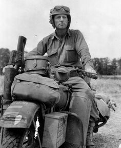 U.S. Soldier on a Harley Davidson WLA during WWII.