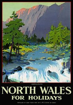 Vintage North Wales Aberglaslyn LMS Railway Travel Poster .17