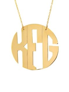 Southern Fried Chics- Metal Block Monogram Necklace