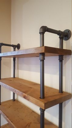 Georgeous industrial style shelving unit that will look great in any room. Made from real pipe and solid distressed stained wood shelving. Creative Industrial Apartment Ideas To Complete Your Industrial Home Furniture, Shelves, Industrial Furniture, Industrial House, Vintage Industrial Decor, Industrial Shelving, Home Decor, Industrial Bathroom Decor, Furniture Design