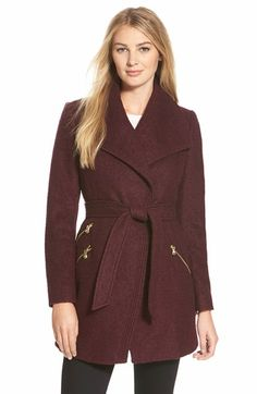 GUESS Belted Bouclé Wrap Coat available at #Nordstrom