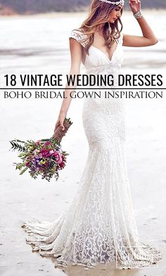 18 Vintage Inspired Wedding Dresses ❤ Our gallery of vintage wedding dresses will show you romance with ancient bohemian spirit. Most bohemian wedding dresses are created from luxury silk fabrics and finished with stunning beadwork. See more http://www.weddingforward.com/vintage-inspired-wedding-dresses/ #weddingdresses #AnnaCampbell #vintagebridalgown Image Credit: Anna Campbell Dresses