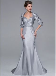 Trumpet/Mermaid Sweetheart Sweep Train Taffeta Mother of the Bride Dress With Beading Flower(s) - Mother of the Bride Dresses - JJsHouse Bridal Dresses 2015, Wedding Party Dresses, Bridal Gowns, Mob Dresses, Dressy Dresses, Bride Dresses, Fashion Dresses, Hippie Dresses, Mother Of The Bride Gown