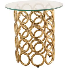 TOV Furniture Gold Margo End Table ($162) ❤ liked on Polyvore featuring home, furniture, tables, accent tables, gold side table, gold end table, gold furniture, polish furniture and gold accent table