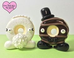 Donut Wedding Cake Toppers - Ready to Ship - Wedding Donut Display - Bride and Groom Donuts - Original Design of The Republic of Cute®