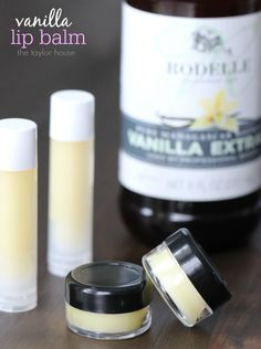 Make your own Homemade Vanilla Lip Balm at home! Homemade lip care.