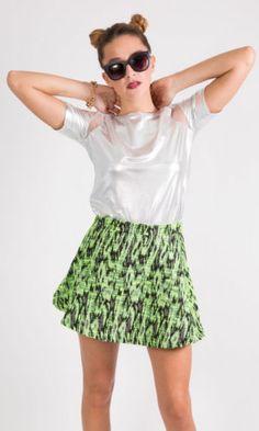 Neon Bobble Wool Skater Skirt £10.99 http://hiddenfashion.com/new-in/new-in-clothing/womens-ladies-neon-coloured-bobbled-woven-wool-skater-skirts.html #neon #orange #green #wool #bobble #texture #short #skater #skirts