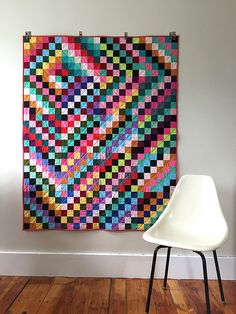 Solid Scrappy Trip Around the World Quilt | by saltyoat