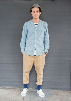 """Reed, 27""""I'm wearing a TS(S) button down, an M. Nii t-shirt, a pair of old…"""