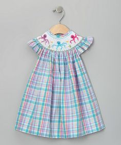 Turquoise Plaid Octopus Bishop Dress - Infant