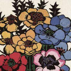 Margaret Preston - detail of Anemones, 1925 (Art Gallery of NSW) Australian Painting, Australian Artists, Margaret Preston, National Art, Paintings I Love, Art For Art Sake, Detail Art, Stencil Designs, Aboriginal Art