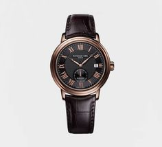 RAYMOND WEIL Genève > Maestro Mens Watches - Automatic small second Rose gold PVD plating on leather strap. Available at Murphey the Jeweler. Best Watches For Men, Cool Watches, Women's Watches, Wrist Watches, Swiss Luxury Watches, Raymond Weil, Rose Gold Watches, Black Watches, Automatic Watch