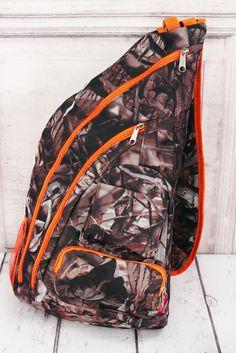 $28.95 Camo backpack, camo sling backpack, Orange camo backpack, Orange camo bag, Orange camo gift,  gift for hunter, camo gift, camo and orange by SpreadingThread on Etsy