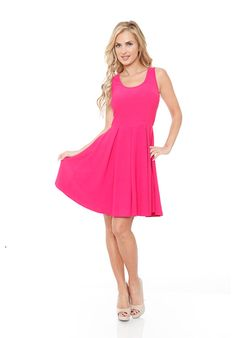 White Mark 826-97-L Clothing & Accessories,Crystal Fit & Flare Fuchsia Dress, Clothing White Mark Dresses Clothing & Accessories