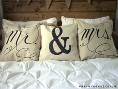 I know someone who would love these!  DIY Drop Cloth Script Pillows