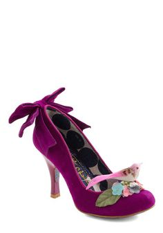 Nest Big Thing Heel by Irregular Choice - Leather, Mid-length, Purple, Multi, Print with Animals, Bows, Flower, Statement