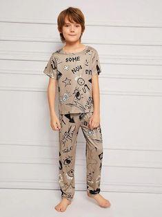 Boys Cartoon & Letter Print Pajama Set – Agodeal Big Kids, Kids Boys, Cute Boys, Teen Boys, Boys Pjs, Satin Pj Set, Cartoon Letters, Kids Photography Boys, Boys Sleepwear
