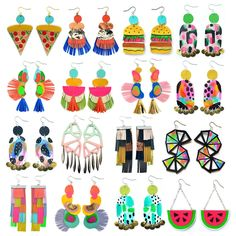 Here's just a few of my hand cut colorful leather earrings. There's over 100 different pairs to choose from!