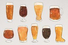 Watercolor, Beer Background, Beer Illustration, Beer Drawing, Illustration Art, Beer Painting, Artwork, How To Draw Hands, Hipster Artwork