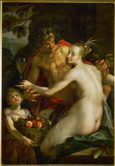 Az egész festmény: Hans von Aachen: Bacchus, Ceres és Ámor. The whole painting: Hans von Aachen: Bacchus, Ceres and Amor.