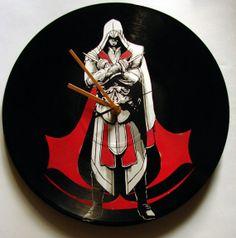 Assassin's Creed vinyl record clock by VantidusVinylArt on Etsy, $39.00