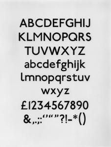 Single trial proof sheet of 10 line Johnston Sans typeface, depicting alphabet in upper and lower case, numerals and other characters, 1992