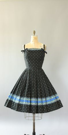 Vintage 50s Dress/ 1950s Cotton Dress/ Alix of Miami Black & Blue Border Print…