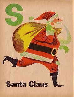 """S is for Santa"" from ""My ABC Book"" written & illustrated by Art Seidan, 1953."