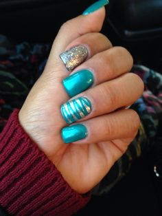 Silver & Turquoise Gel Nails