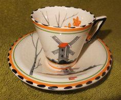"Burleigh Ware Art Deco Coffee Cup And Saucer ""Tranquil"" pattern. Coffee Cups And Saucers, Cup And Saucer, Chocolate Pots, Earthenware, Teacups, Tea Pots, Art Deco, Clay, Pottery"