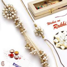 lumba Handmade Rakhi Designs, Rakhi Making, Jar Chandelier, Photo Charms, Handmade Decorations, Pearl Beads, Metal Jewelry, Diy And Crafts, Handmade Jewelry